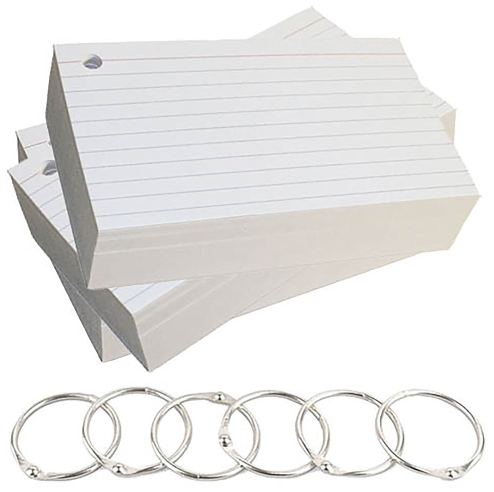 Debra Dale Designs - 5'' x 8'' Ruled One Side Blank Back Single Hole Punched Premium Extra Heavy 140# Ringed Index Cards With Six Metal Binder Rings - White - 300 Cards - 3 Packages of 100
