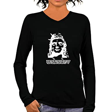 1ce65e215 Pooplu Womens Lord Mahadev Cotton Printed V Neck Long Sleeves Multicolour T- Shirt. Hindu