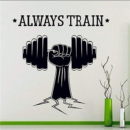 Mbambm Mancuernas Deportivas Siempre Entrenar Fitness Alta Calidad Tatuajes De Pared Deportes Gimnasio Yoga Power Decal