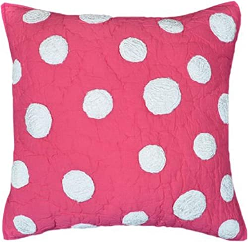Be-you-tiful Dots 16 by 16-Inch Decorative Pillow, Pink