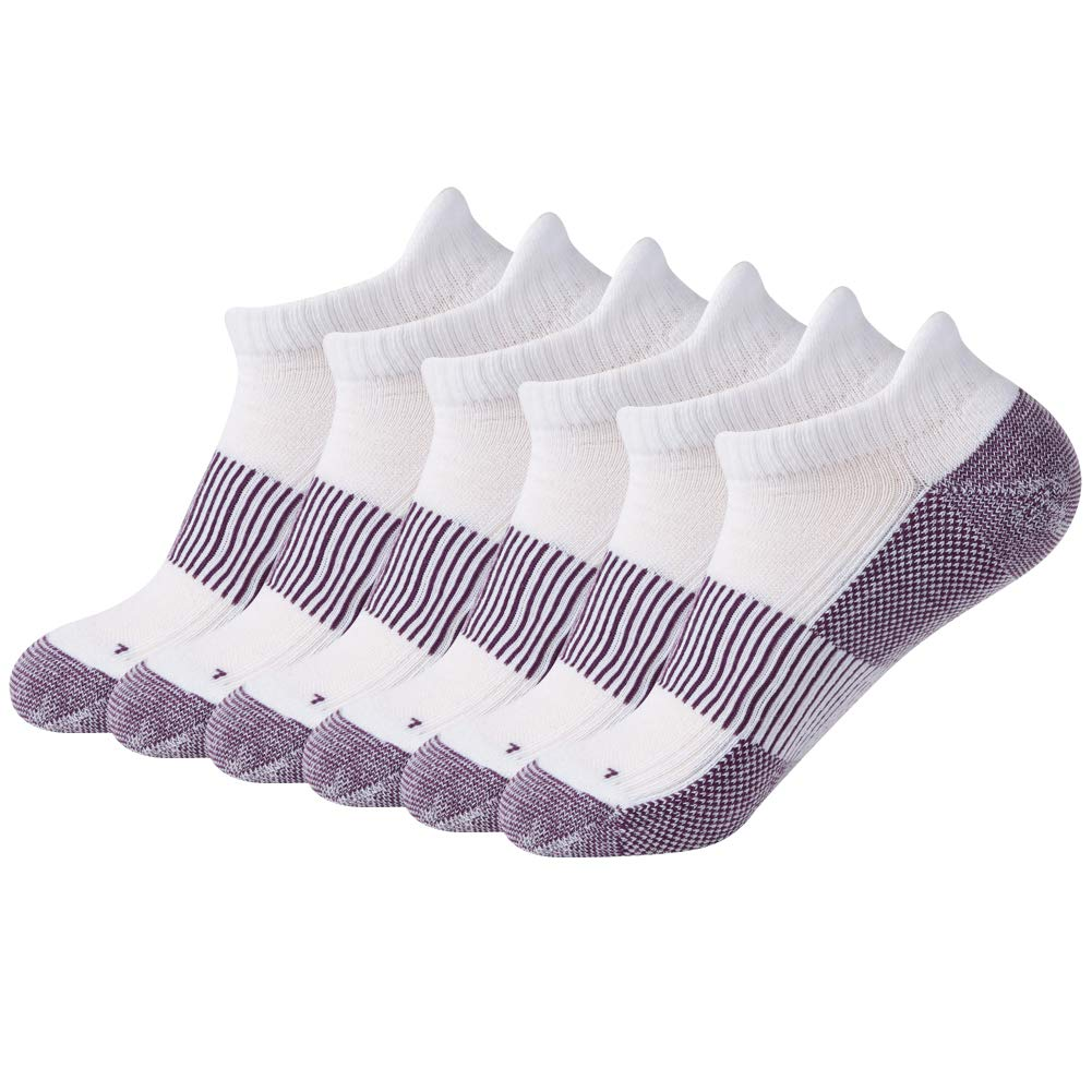 FOOTPLUS Copper Infused Antibacterial Anti Odor Breathable Moisture Wicking Ankle Athletic Hiking Tennis Golf Running Socks, 6 Pairs White& Purple, Large by FOOTPLUS