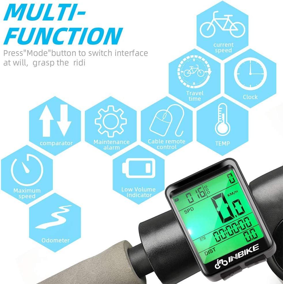IP66 impermeable con cuentakil/ómetros para bicicleta Hospaop retroiluminaci/ón LCD Ciclocomputador inal/ámbrico velocidad y control de velocidad real 23 funciones