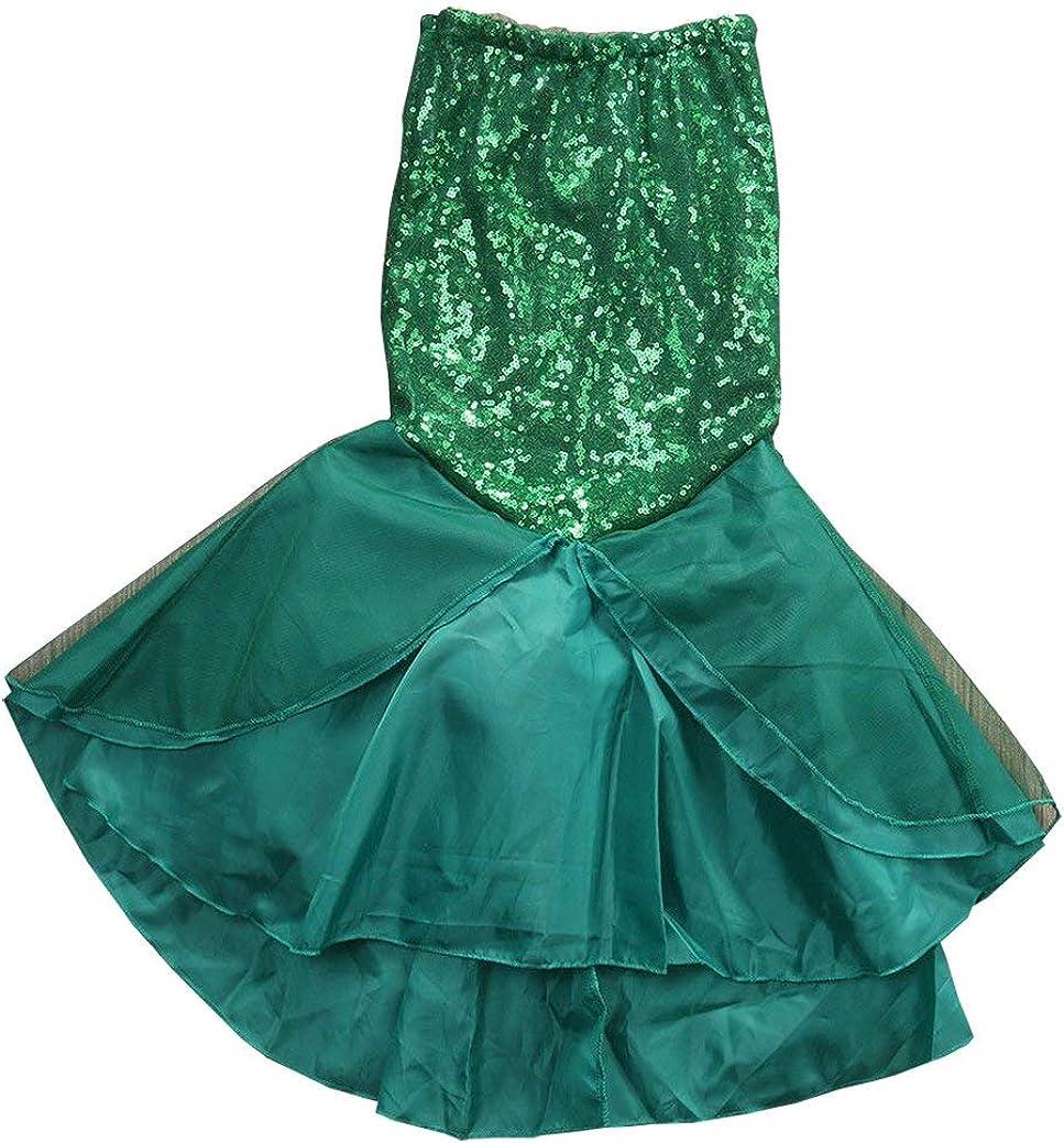 TiaoBug Kids Girls Sequins Mermaid Tails Halloween Cosplay Party Costume Fancy Dress Child Bikini Swimming Long Skirt