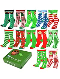 TeeHee Christmas Holiday 12-Pack Gift Socks for Women...