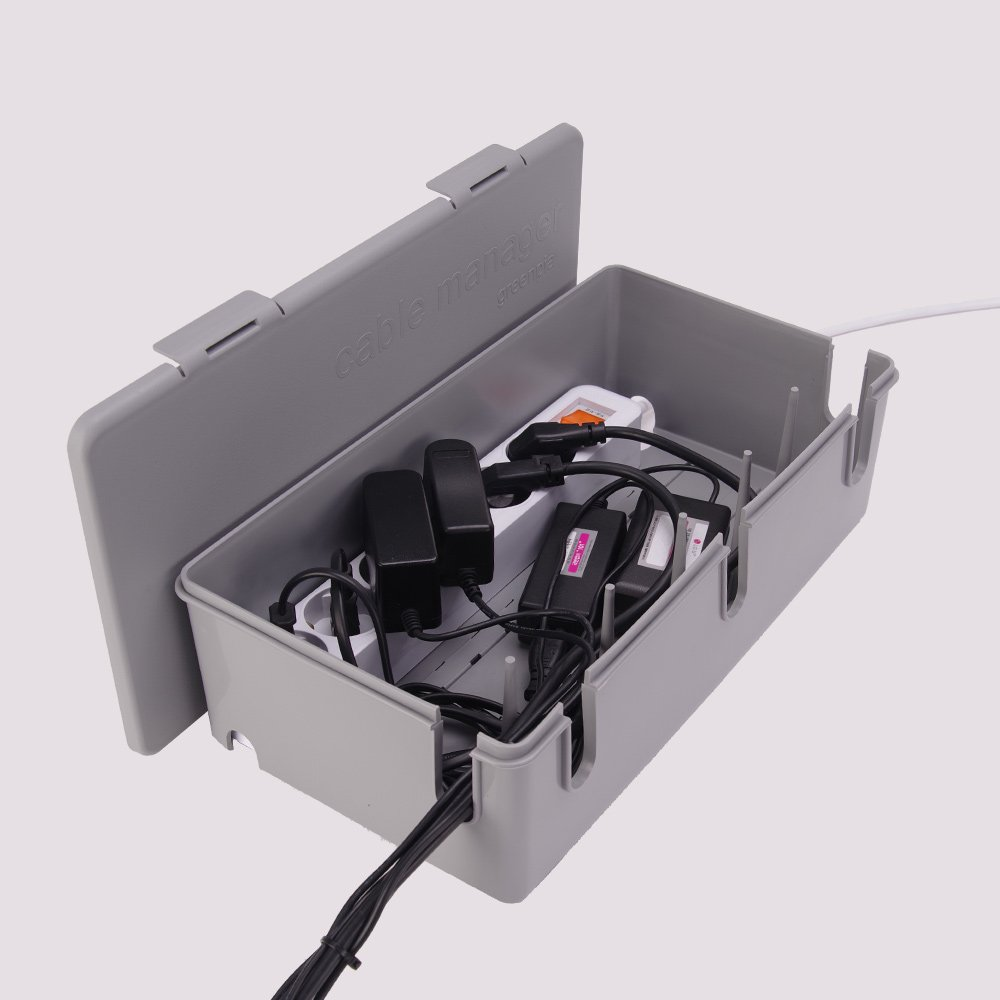 Outlet Surge Protector Organize Box Multitap Cable Manager Box Power Strip Organizer Storage Box (Mint Grey)