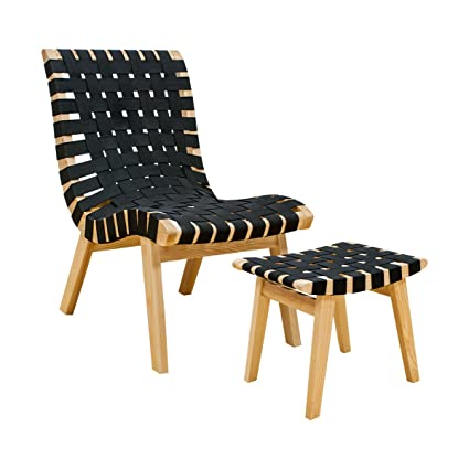 Mod Made Modern Woven Lounge Chair And Ottoman Solid Wood Frame, Black