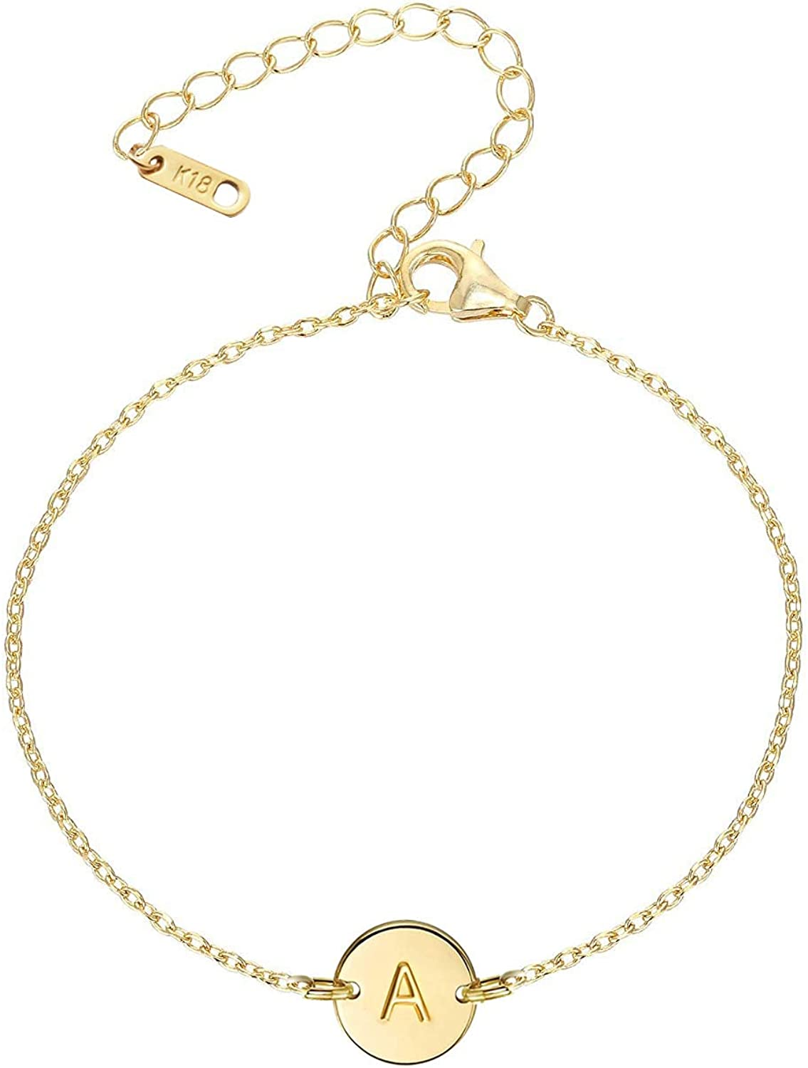 Personalized Initial Disc Bracelet Dainty Gold Initial Bracelet Couple Jewelry Simple Stamped Disc Jewelry Custom Initial Tag Bracelet