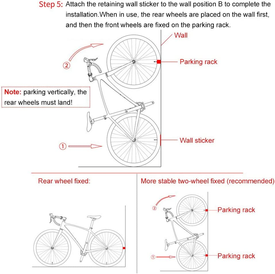 Gancho De Montaje En Pared para Bicicleta anshoujijing Bastidor De Estacionamiento para Bicicletas Soporte Vertical 1pc Bastidor De Pared Ajustable con Hebilla para Estacionamiento De Bicicleta