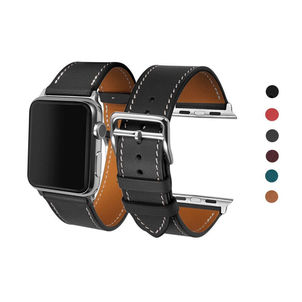 For Apple Watch Band, 38mm 42mm CAILIN Genuine Leather iwatch Strap Replacement Band with Stainless Metal Clasp for Apple Watch Series 3 Series 2 Series 1 Sport and Edition(gray)38mm