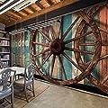 XLi-You 3D industrial wind wood-grain large murals retro cafe restaurant and grill bar KTV wallpaper