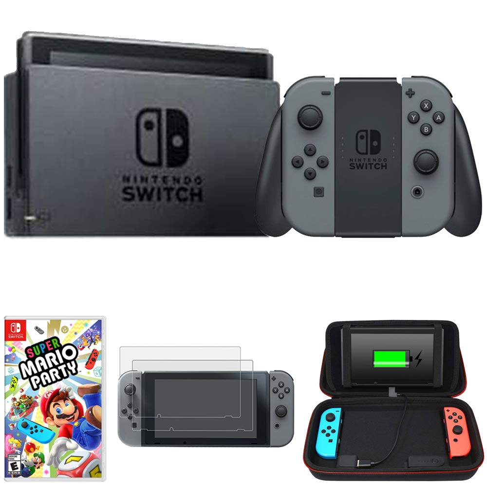 Nintendo Switch 32 GB Console with Gray Joy Con (HACSKAAAA) Super Mario Party + Charging Case for Switch w/Built-in Stand (10000mAh Battery) + 2-Pack Tempered Glass Screen Protector