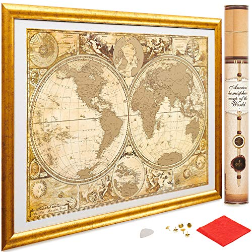 My New Lands Ancient History Gold Scratch Off Map of The World, Size-17x24 Inches, US States Outlined, Original Deluxe Travel Map: Detailed Cartography, Made in -