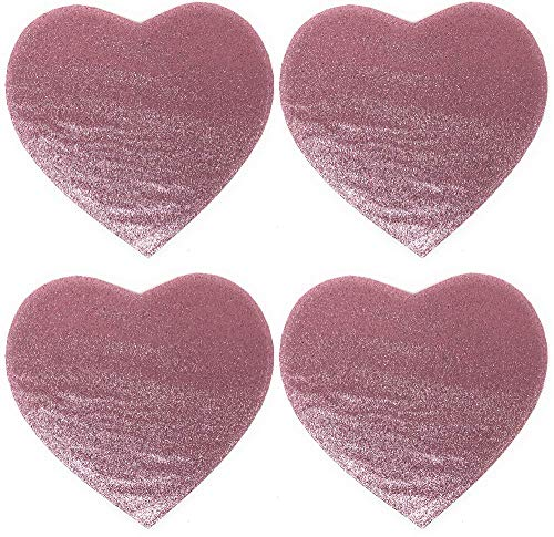 Northeast Home Valentine's Day Heart Shaped Glitter Placemats, Set of 4 (Pink)