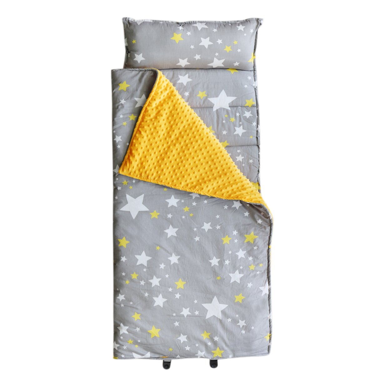 Hi Sprout Kids Toddler Lightweight and Soft Nap Mat- Minky Dot& Cotton-Stars