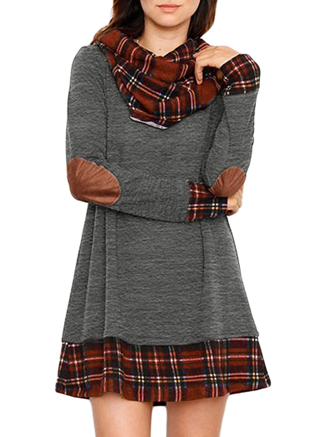 Charcoal Elapsy Womens Long Sleeve Feather Print Casual A Line Tunic T Shirt Dress