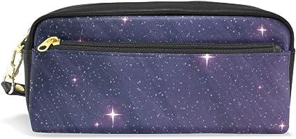 Galaxy Space - Estuche de piel para lápices, color violeta: Amazon.es: Oficina y papelería