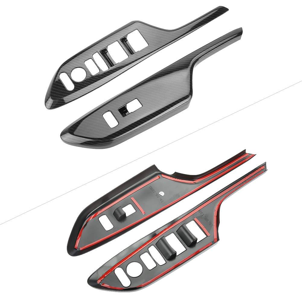per guida a sinistra 4 pezzi stile bracciolo maniglia in fibra di carbonio Trim misura per Civic 2016-2017 Gorgeri Trim bracciolo maniglia della porta