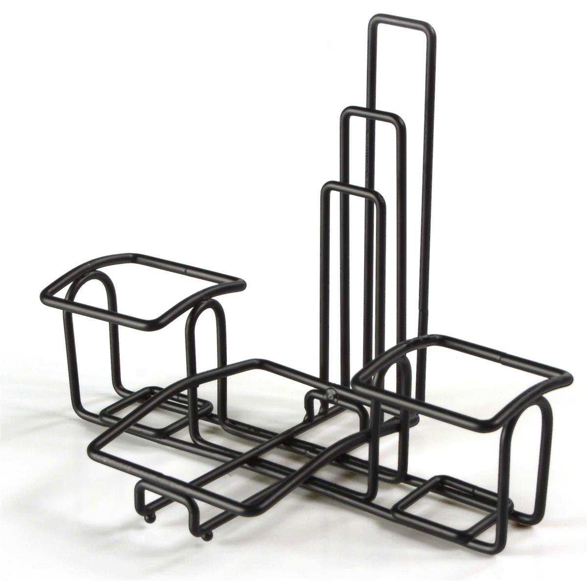 Condiment Caddy Stands with Menu Holders, Wire Organizers for Condiments, Steel (Black) - Set of 10