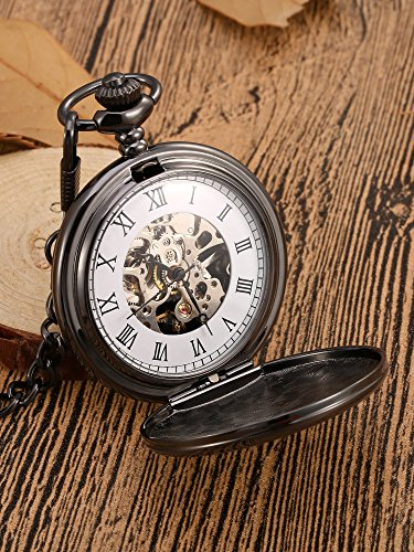 Mudder Classic Smooth Surface Mechanical Pocket Watch with Chain Xmas Birthday Wedding Father Day Gift (Black) by Mudder (Image #1)