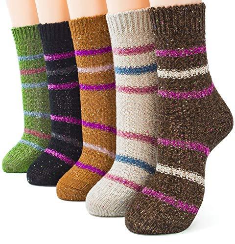 (Packs of 5 Crew Socks Women Wool Fuzzy Winter Colored Knit Sox,Mesh)