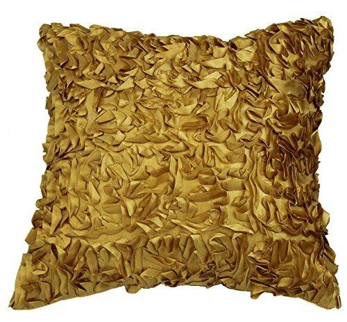 Violet Linen Silky Taffeta Abstract 3D Design Decorative Throw Pillow Gold [並行輸入品] B07RDXFBJ5