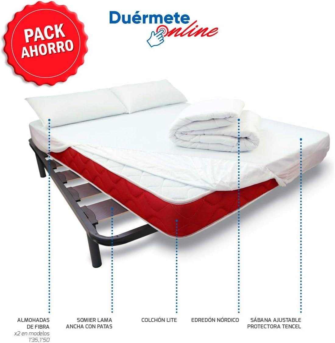 Duérmete Online - Pack Cama Completa Total con Colchón Lite + Somier Reforzado + Sábana Protectora Ajustable Tencel + Relleno Nórdico + Almohada 105x190: Amazon.es: Juguetes y juegos