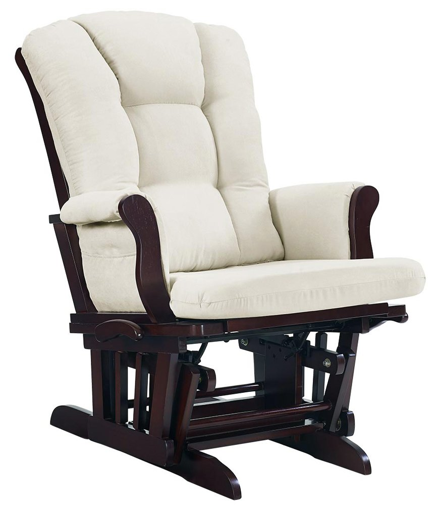 Angel Line Sleigh Reclining Glider, Multi-Position, Espresso with Beige Cushion by Angel Line