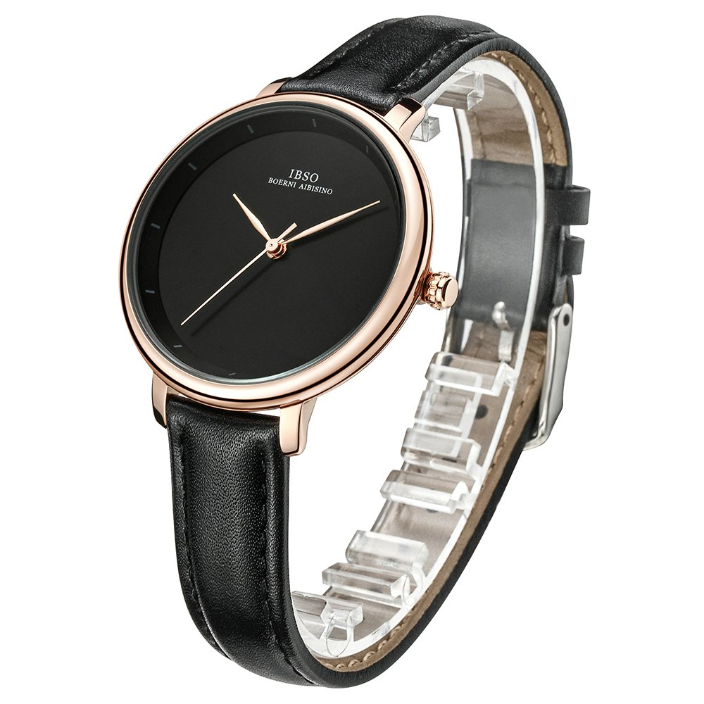 Women Simple Face Watches Leather Band Luxury Quartz Watches Girls Ladies Wristwatch Reloj De Mujer (Black) by IBSO BOERNI AIBISINO (Image #3)