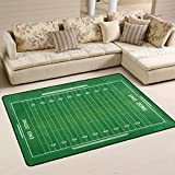 ALAZA Green Soccer Football Field Area Rug Rugs for Living Room Bedroom 3'x2'