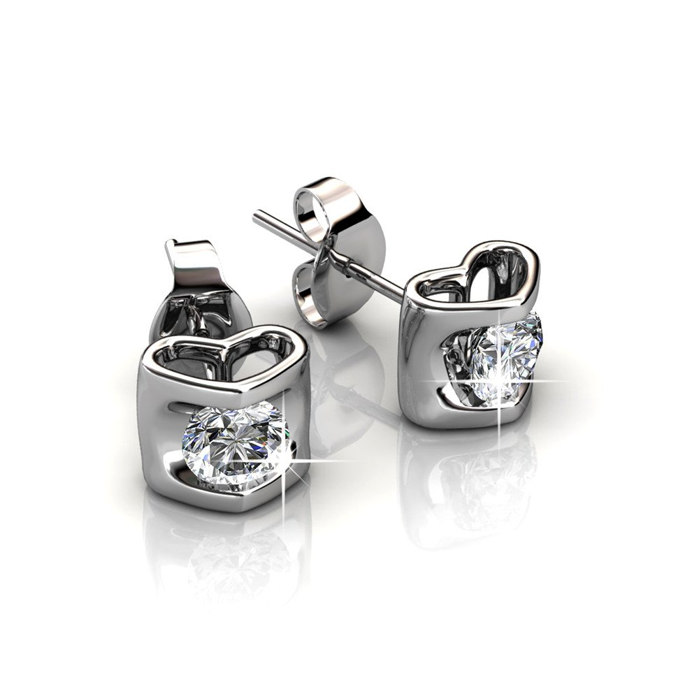 5269ef46f62ad Cate & Chloe Lindsey Heart Stud Earrings, 18k White Gold Plated ...