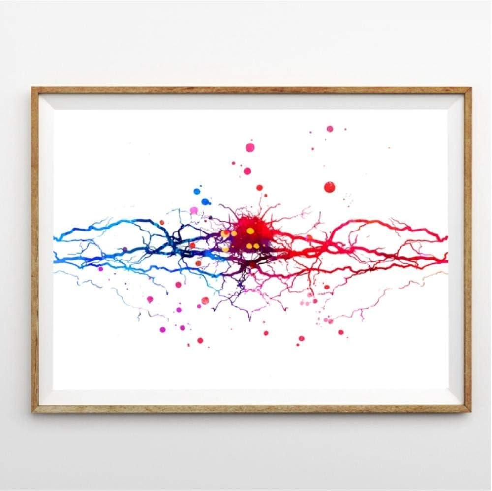 Rjunjie Neural Acuarela Impresión Neurona Árbol Arte Neurología Póster, Anatomía del Cerebro Medicina Arte de la Pared Pintura de la Lona Clínica Decoración de la Pared 50x70 cm Sin Marco