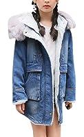 Girl's Long Sleeve Shearling Denim Warm Outerwear Hooded Faux Fur Trench Coat Lamb Jacket