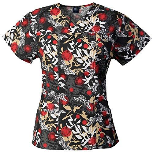Medgear Women's Printed Scrub Top, ID Loop & 4 Pockets Medical Uniform DDRB Red