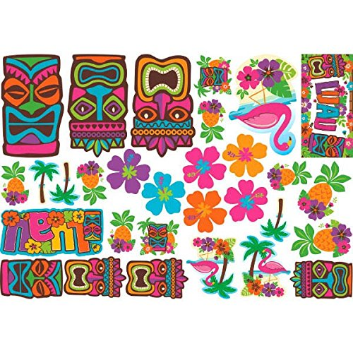 Amscan Hawaiian Summer Luau Party Assorted Cutouts Wall Decoration (30 Piece), Multi Color, 14.5 x 12.5 (Assorted Decorations)