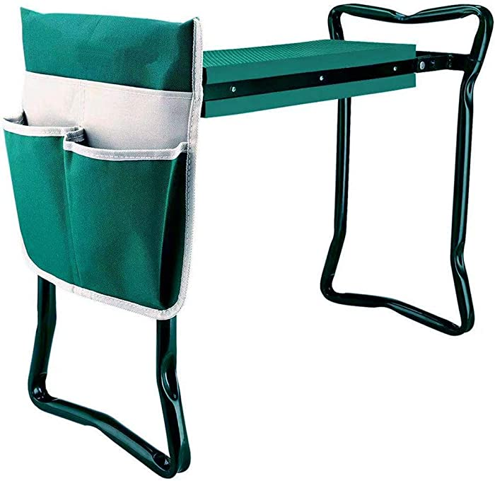 Garden Kneeler and Seat with Tool Bag Pouch,Portable Lightweight Garden Bench Thicken EVA Foam Pad Sturdy Steel Pipe Practical Garden Tools(Green)