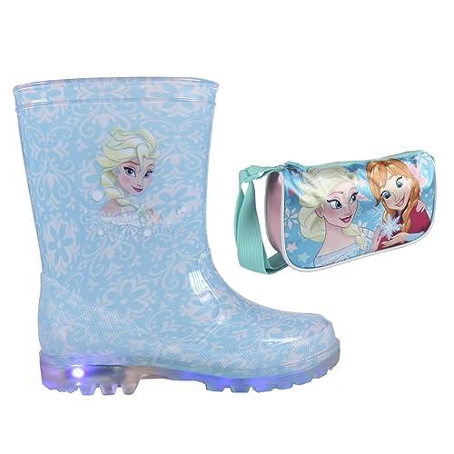 4fc8af4e077 Frozen Disney Botas de Agua para niña con Luces Led Color Lila y Fucsia +  Bolso