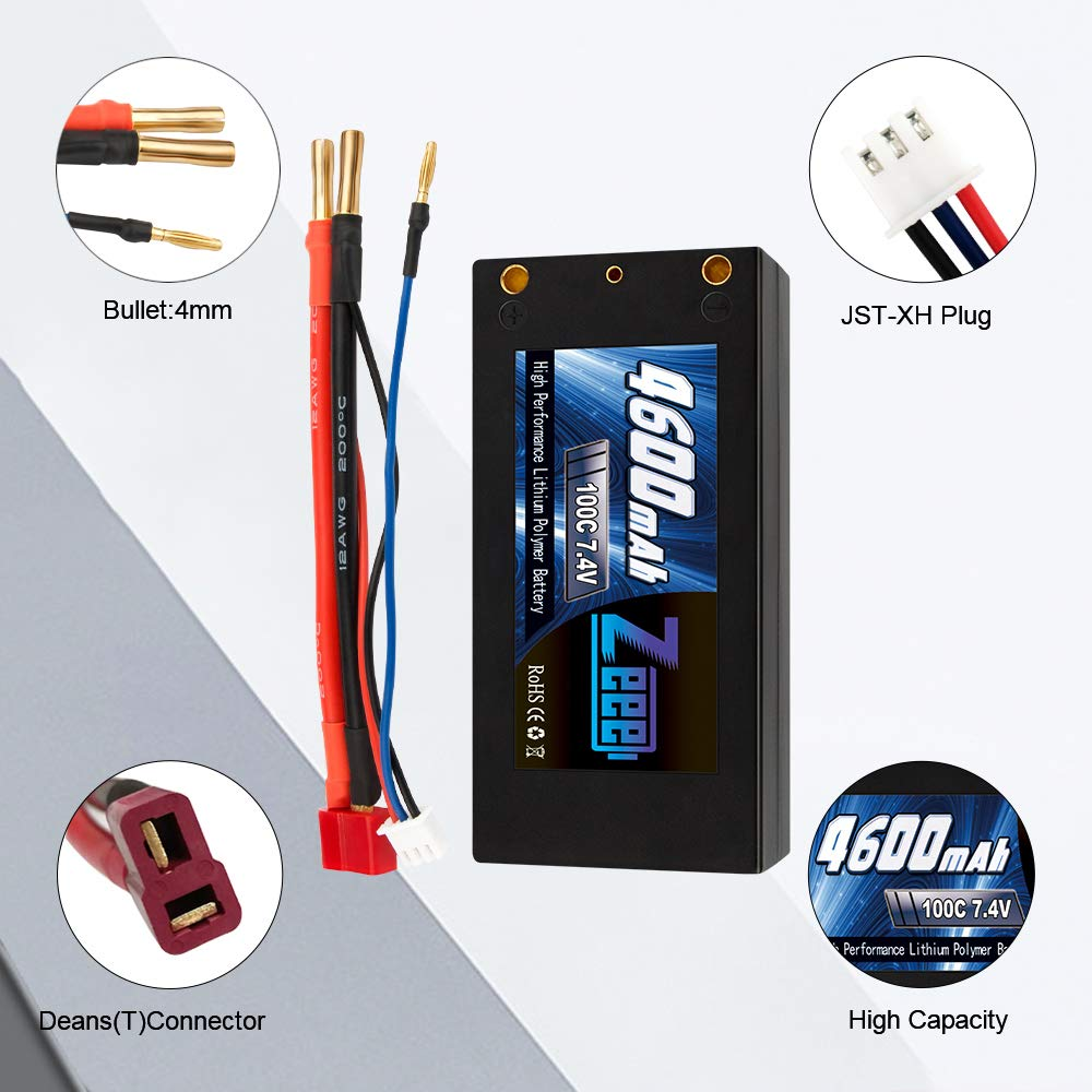 Zeee 2S Shorty Lipo 7.4V 100C 4600mAh Hardcase Lipo Battery with 4mm Bullet Deans Ultra Plug Connector for RC 1/10 Scale Vehicles Car,Trucks,Boats by Zeee (Image #2)