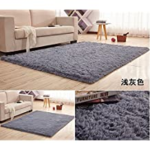 "HUAHOO Super Soft Indoor Modern Shag Area Silky Rugs Dining Room Living room Bedroom Rug Baby Nursery Rug Childrens Kids Room Rug Carpet Floor Mat for Home Decorate (16"" x 24"", Gray)"