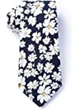 Men's Hipster Bold Romeny Floral Flowers Cotton Skinny Narrow Tie Necktie