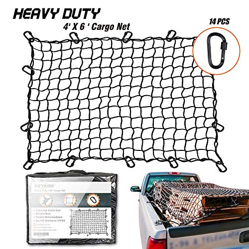 (EZYKOO Truck Nets, 4' X 6' Heavy Duty Truck Bed Net, Cargo Net,Max Stretches to 8' X 11' with 14 pcs Upgrade Durable Carabiners Hooks,4X4 Small Mesh fit Universal Truck Bed (4'x6'))