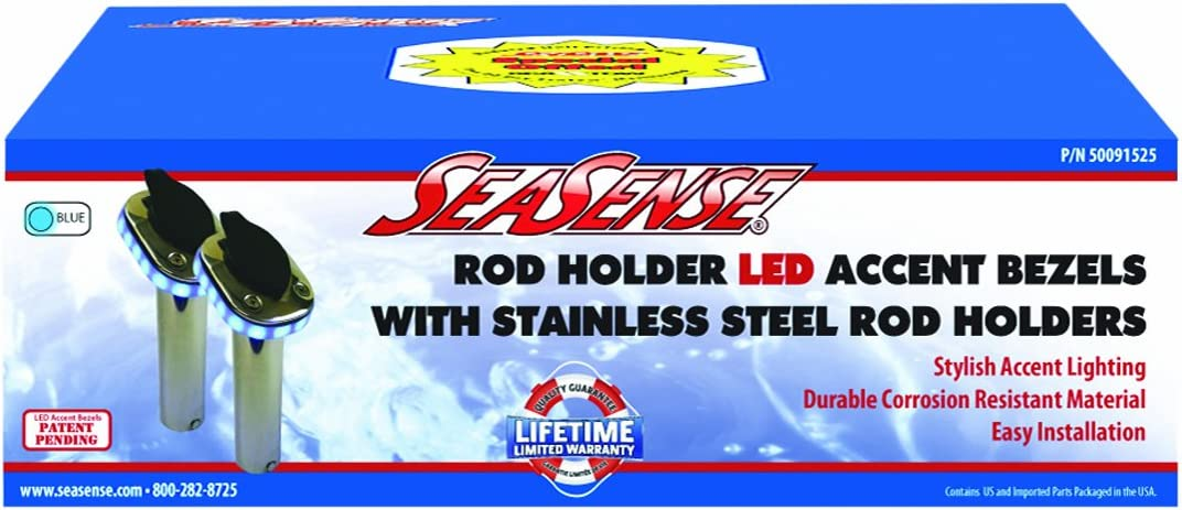 SeaSense Stainless Steel Long Beach Mall Rod Holder LED with New sales Silver Ring