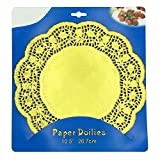 """Lace Paper Doilies Cake Placemats Crafting Coaster of Party Wedding Gift Tableware Decoration 36pcs 10.5"""",Gold Round"""