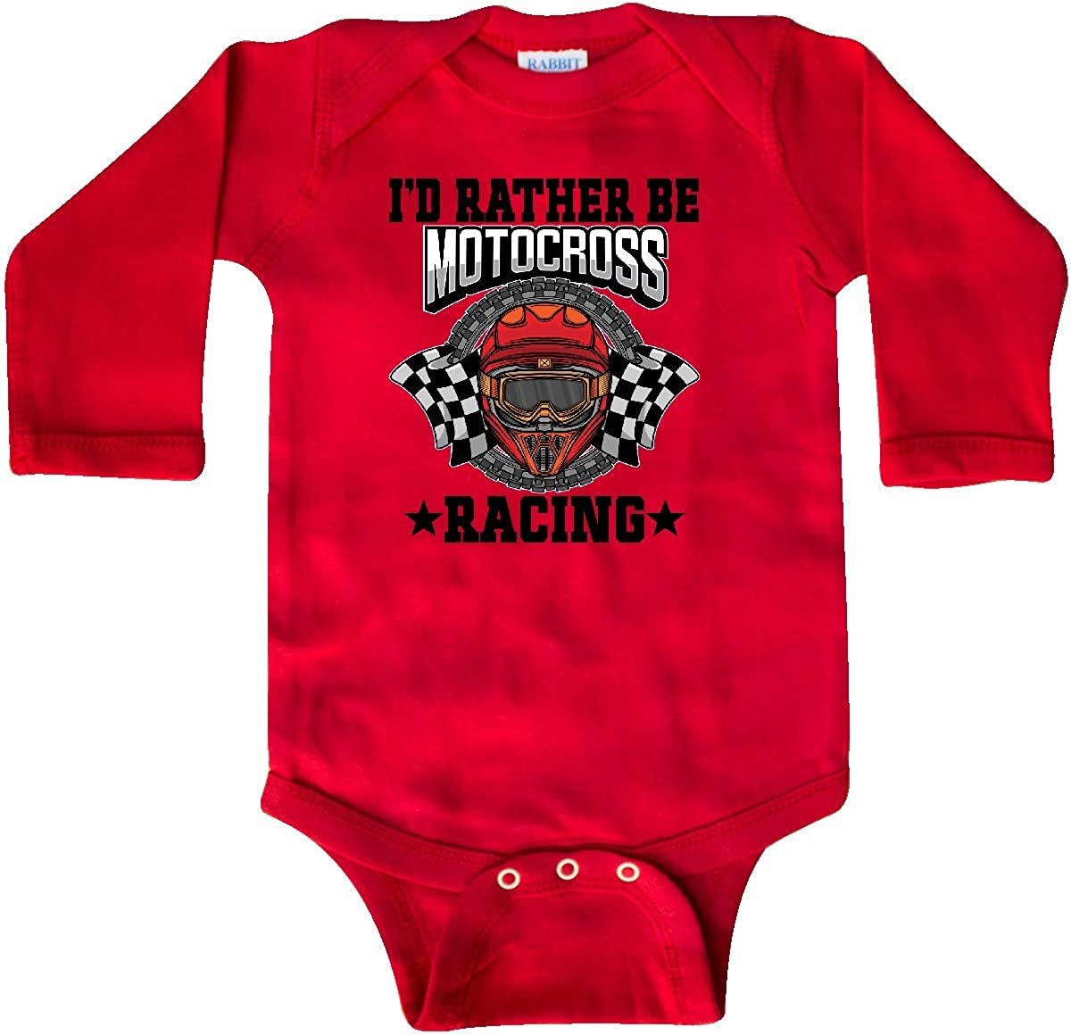 inktastic Id Rather Be Motocross Racing Long Sleeve Creeper