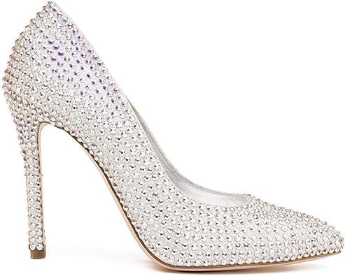 Lada Suradam cuscús  Manuel Reina - Zapatos de Cristal Swarovski Blanco tacón Mujer - Cenicienta  Swarovski White - Fabricados a Mano - Pump Cinderella - Varias Alturas:  Amazon.es: Zapatos y complementos