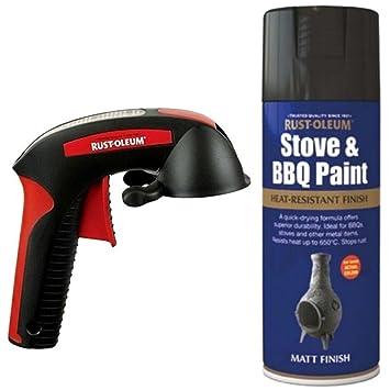 Rust-oleum estufa y BBQ calor prueba negro Spray de pintura 400 ml spray con un reutilizable aplicador pistola: Amazon.es: Bricolaje y herramientas