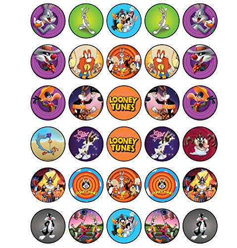 Looney Tunes Party Supplies (30 x Edible Cupcake Toppers - Looney Tunes Themed Collection of Edible Cake Decorations | Uncut Edible Prints on Wafer)