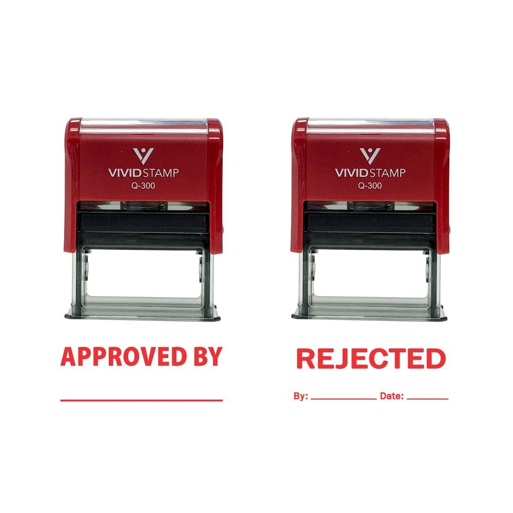 Amazon APPROVED REJECTED By Date Self Inking Rubber Stamp