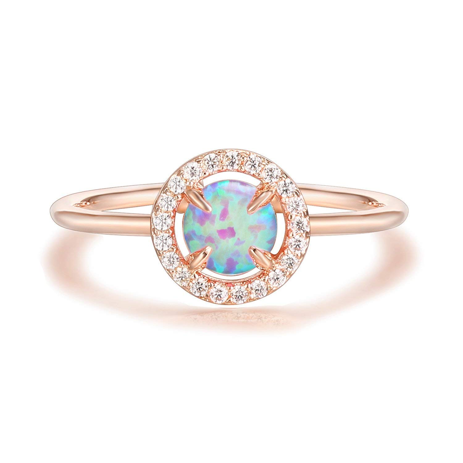 PAVOI 14K Rose Gold Plated CZ and Created Pink Opal Ring