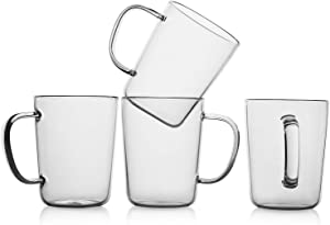 LUXU Glass Coffee Mugs(Set of 4)-17 oz,Clear Beer Mugs,Glass Tea Cups with Comfortable Handle,Lead-free Drinking Glasses,Perfect for Latte,Espresso,Juice,Water,Milk or Hot and Cold Beverage