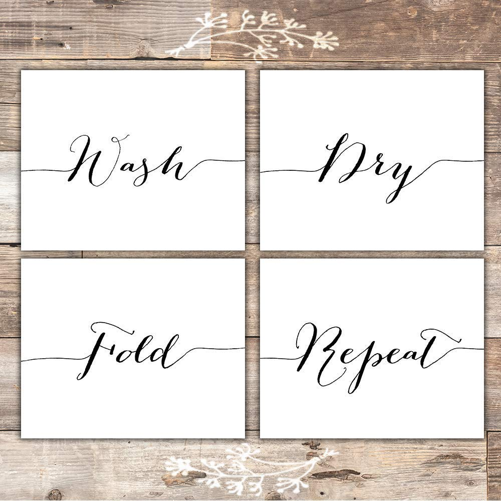 Wash Dry Fold Repeat - Laundry Room Wall Decor Art Prints (Set of 4) - Unframed - 8x10s